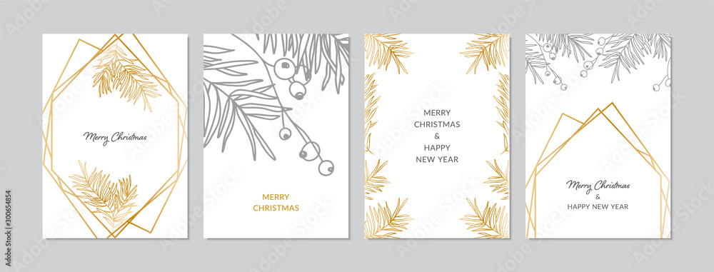 Fototapety, obrazy: Gold and silver Christmas cards set with hand drawn tree branches and berries. Doodles and sketches vector illustrations, DIN A6