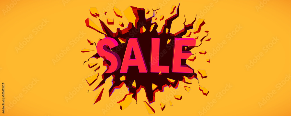 Fototapety, obrazy: Sale banner. Wall explosion. Black crack in the yellow wall.