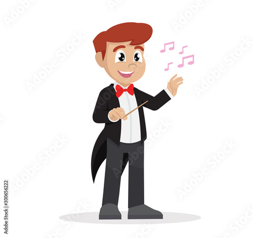 Cartoon character, Boy in Conductor. Canvas Print