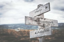 Help, Support And Advice Signpost. Nature, Adventure, Message, Text, Quote Concept.