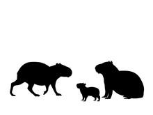 Capybara Family. Silhouettes O...