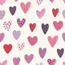 Heart Seamless Pattern, Vector Love Illustration On Ivory Background With Old Texture Of Random Hearts.