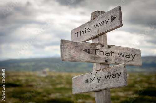 Fotografia This way, that way, my way signpost. Guidance concept.