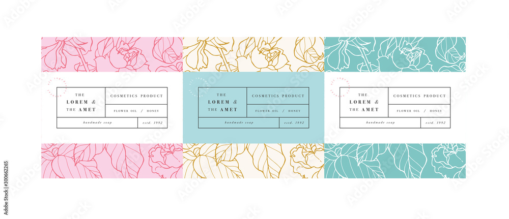 Fototapeta Vector set pattens for cosmetics with label template design. Patterns or wrapping paper for package and beauty salons. Botanical collection,