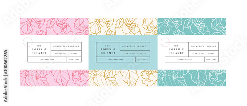 Obraz Vector set pattens for cosmetics with label template design. Patterns or wrapping paper for package and beauty salons. Botanical collection, - fototapety do salonu