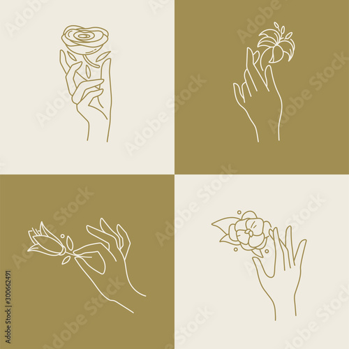 Photographie Vector design linear template logos or emblems - hands in in different gestures with flowers