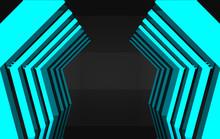 3d Rendering. Abstract Modern Futuristic Light Blue Hexagonal Hallway Wall Background.