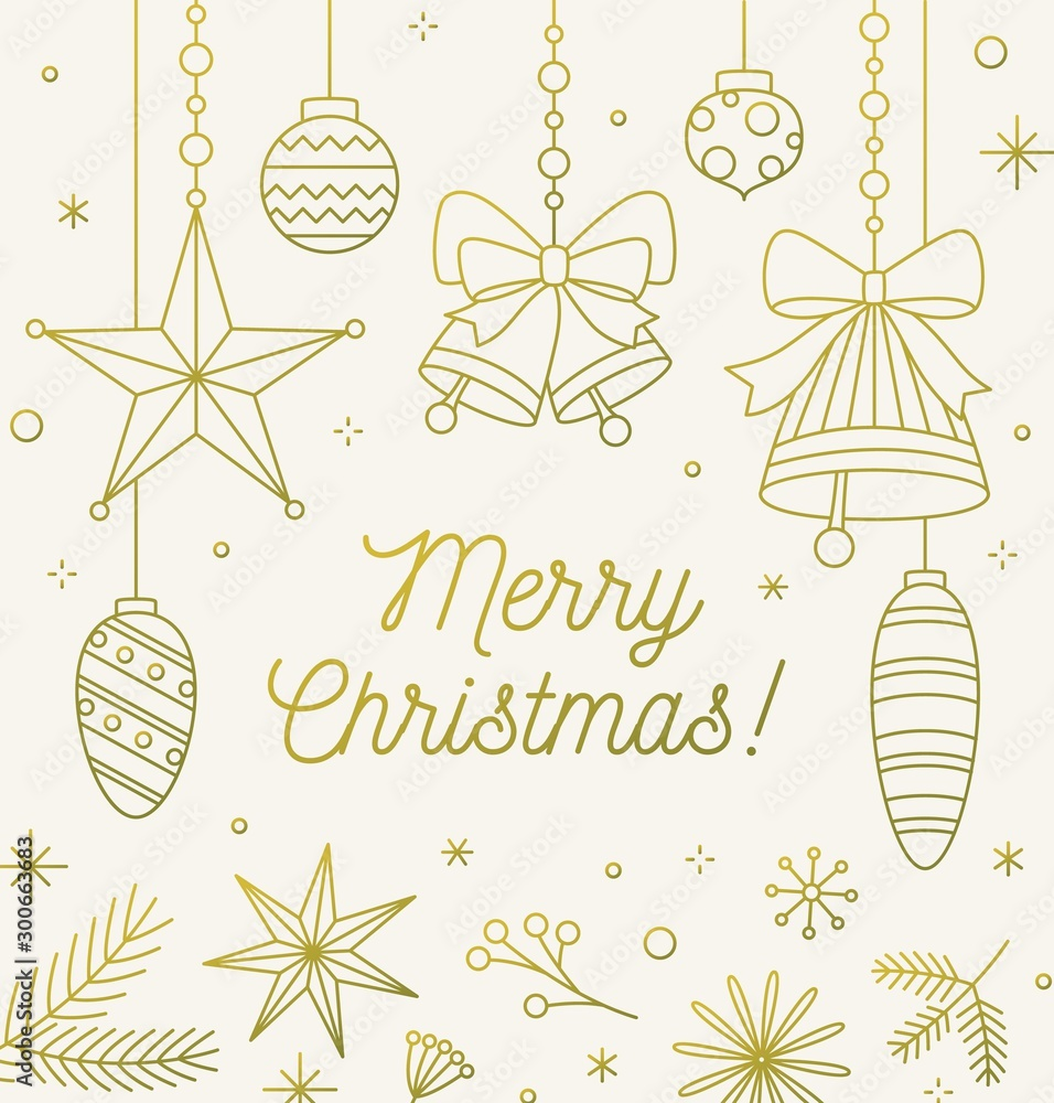 Fototapety, obrazy: Line art festive Christmas greeting card. Outline postcard for winter holidays. Monochrome contour golden decorative elements, baubles and bells on light background. Simple vector illustration.