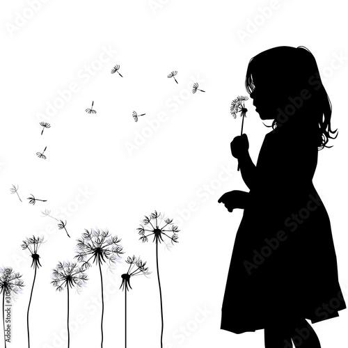 Fotografie, Obraz The profile of the silhouette of the girl blows dandelion