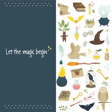 Magic Banner, Poster With Set Of Magic Symbols