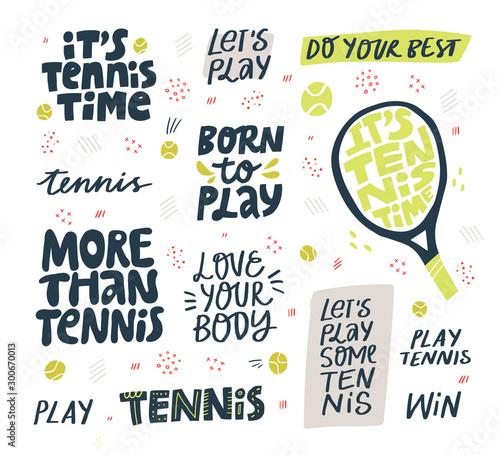 Fotografía  Play tennis hand drawn vector letterings set