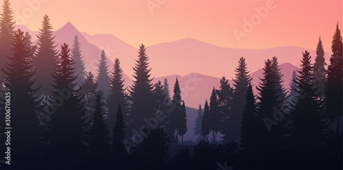 Aluminium Prints Natural Pine forest mountains horizon Landscape wallpaper Sunrise and sunset Illustration vector style Sunlight colorful view background
