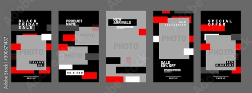 Fotomural  Stories template set for black friday, presentation, flyer, poster, invitation