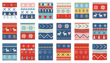 Seamless Christmas Patterns. Vector Design In Nordic Style