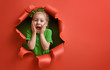 canvas print picture - Santa's elf on bright color background