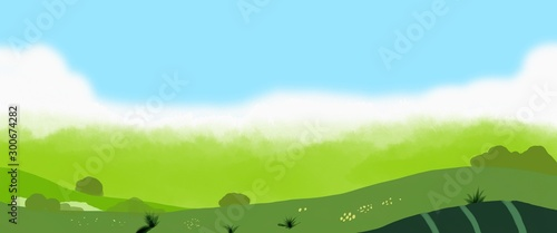 Green landscape illustration
