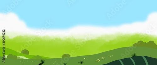 Foto op Aluminium Lime groen Green landscape illustration