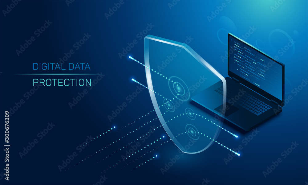 Fototapeta isometric vector image on a dark background, a transparent shield covering the laptop from virus attacks, protection of digital data