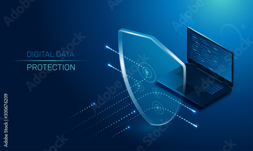 Fotomural isometric vector image on a dark background, a transparent shield covering the l