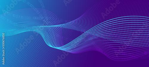 Valokuva Vector Science Flyer. Matrix Data Stream. Violet