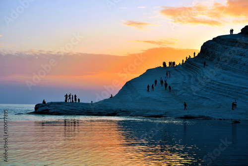 Fotografiet stair of the turks (Scala dei Turchi) mediterranean Beach Agrigento Italy