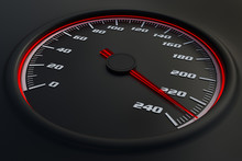 Red Speedometer In Car On Dashboard. 3D Rendered Illustration.