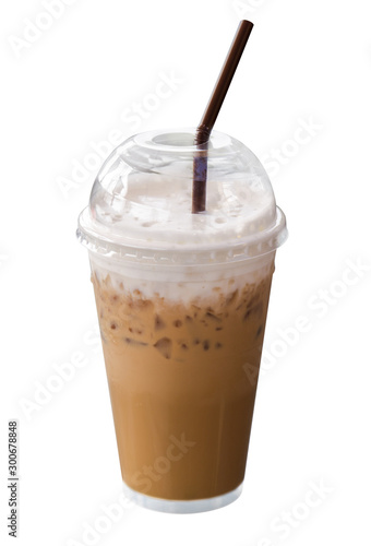 Keuken foto achterwand Milkshake cup of coffee on white background