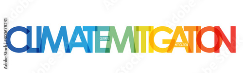 CLIMATE MITIGATION vector typography banner with blue to orange temperature grad Wallpaper Mural