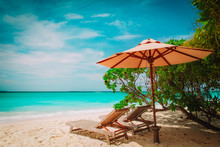 Two Beach Chairs On Tropical S...