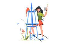 Artist Woman Character Holding Paintbrush