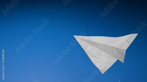 Fototapeta Paper airplens toy on a blue background - 3D rendering illustration obraz na płótnie