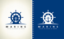 Helm And Anchor Logo Vector De...