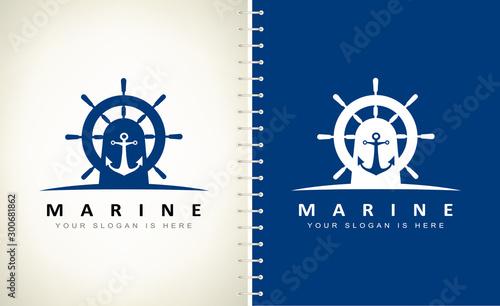 Fotografía helm and anchor logo vector design