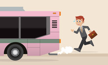 Cartoon Character, Businessman Is Running For A Outgoing Bus.
