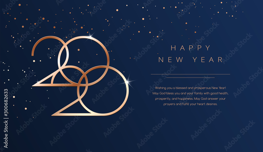 Fototapety, obrazy: Luxury 2020 Happy New Year background. Golden design for Christmas and New Year 2020 greeting cards with New Year wishes