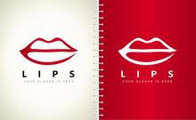 Lips Logo Vector. Kiss Design.