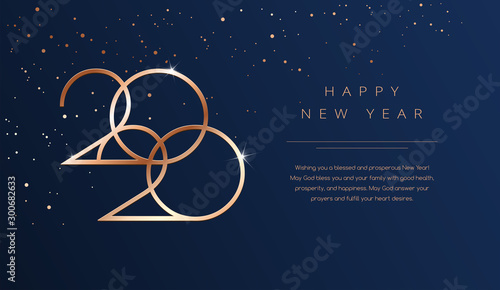 Luxury 2020 Happy New Year background Poster Mural XXL