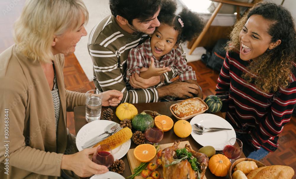 Fototapety, obrazy: Happy Family Celebrating Thanksgiving Dinner at home . Celebration tradition concept