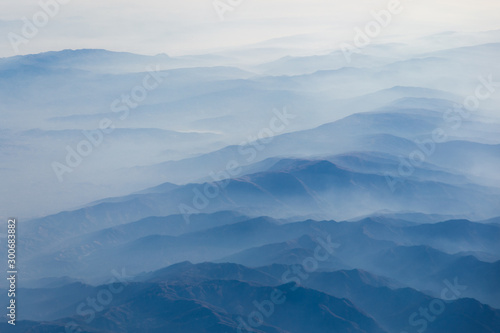 The mountains covered with clouds