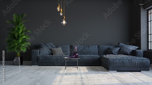 Fotografía  Modern interior design of a living room in an apartment, house, office, comfortable sofa, fresh flowers and bright modern interior details and sunbeams from a window on a dark wall background