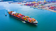 canvas print picture - Cargo ships with full container receipts to import and export products worldwide