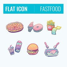 Set Of Color Fast Food Sketched Icons. Collection Of Hand Drawn Stickers With Street Food Meal. Design Elements For Logo, Menu, Ads, Promo Poster Or Banner.