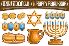 Vector Set For Hanukkah Holiday, Gold Chocolate Coins, Decorative Star Of David, 4 Isolated Dreidels, Festive Sufganiyot With Jelly On Plate, Clay Jug With Oil, Hanukkah Menorah With Burning Candles.