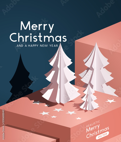 A realistic vector with paper cut christmas trees. Abstract winter background.
