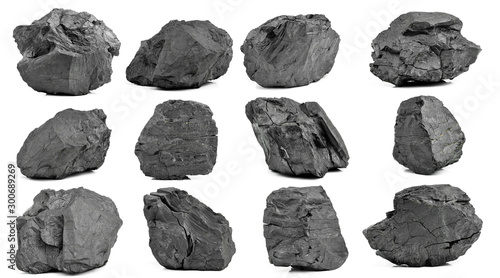 Coal on Isolated White Background Wallpaper Mural