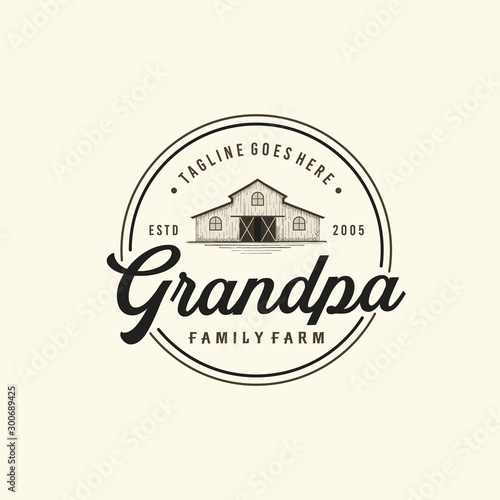 Fototapeta Vintage Farms Typography Logo Design Inspiration
