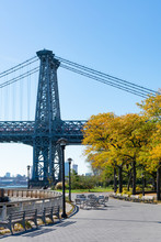 Walkway Along The East River Park By The Williamsburg Bridge On The Lower East Side Of New York City During Autumn