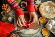 Leinwanddruck Bild - The process of making christmas cookies. Girl hands make the dough. Ingredients for baking a pie: flour, confectionery, dishes, kitchen utensils, spruce cookies figure on a dark background.Christmas g