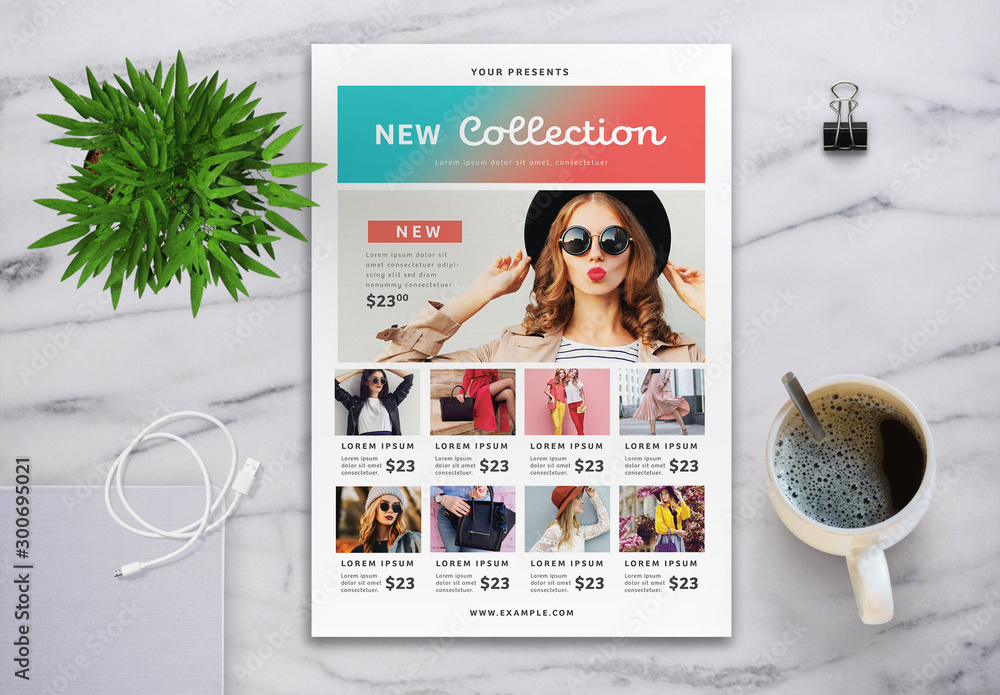 Fototapeta Collection Flyer Layout with Gradient Element