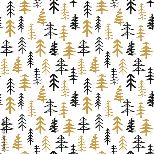 mata magnetyczna Pine tree seamless pattern. New Year and Christmas background, vector Illustration